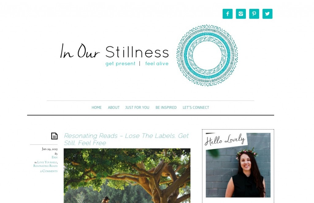 "In Our Stillness is all about ""exploring the place where health, wellness and spirituality collide."" It's about getting the most out of life, being present and appreciative, and living your life on your own terms – all things which I am super passionate about! Erin's wellness philosophy will inspire you to ditch the diet (and the scales), and instead emphasises self-love, meditation and doing what makes you feel good – which I just find totally empowering! In Our Stillness has fast become one of my go-to blogs so spark some inspiration back into my life www.oneinfinitelife.com/blogs-i-dig-3/"