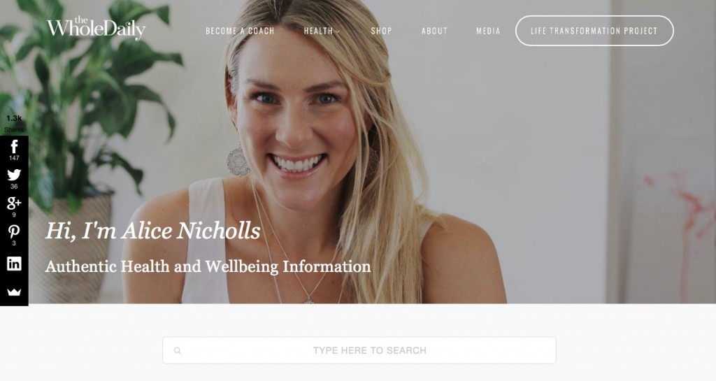 """The Whole Daily is an authentic health and wellbeing blog, where you definitely will learn """"all sorts of useable information on food, nutrition, body love, healing, conscious living and being kind to your good self."""" http://thewholedaily.com.au"""