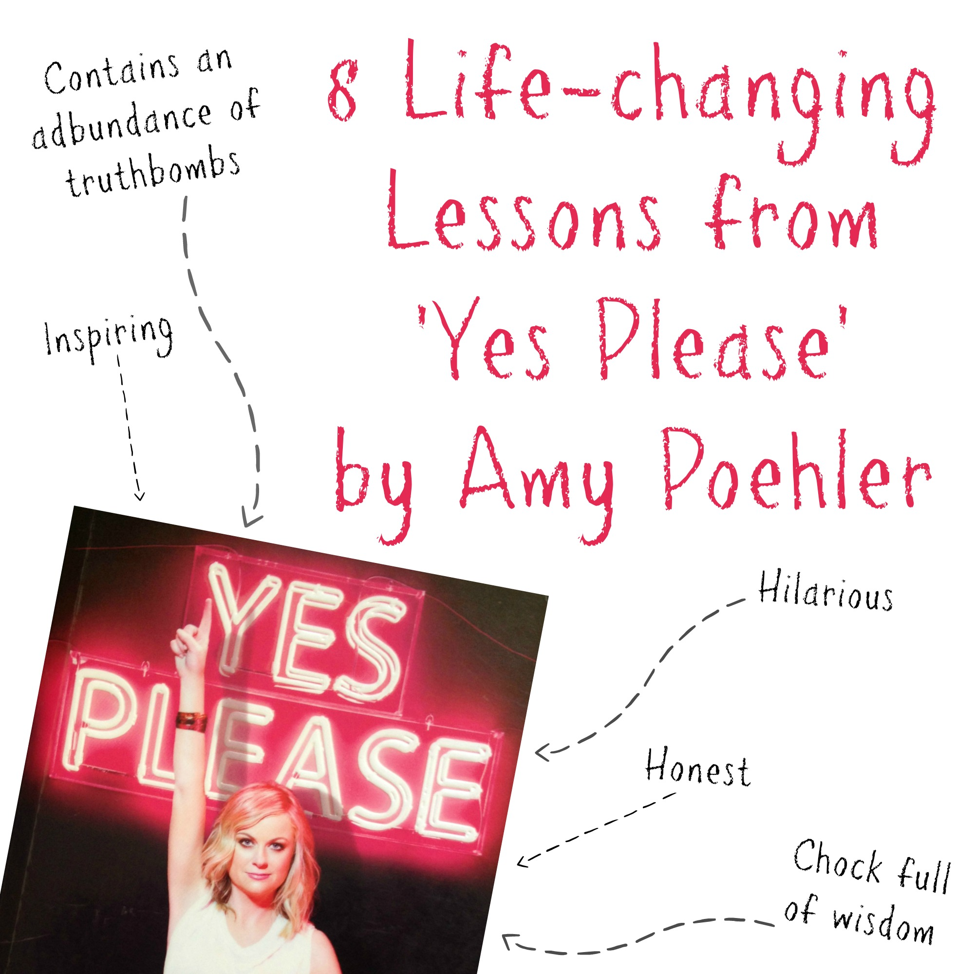 Yes Please is a candid account of Amy's experiences in life and I would describe the book as as hilarious, honest, inspiring, genuine and totally upfront. One of my favourite things about this book is that it's chock full of nuggets of wisdom and real life advice, so here are some of the standout takeaways for me.. http://oneinfinitelife.com/lessons-from-yes-please-by-amy-poehler/