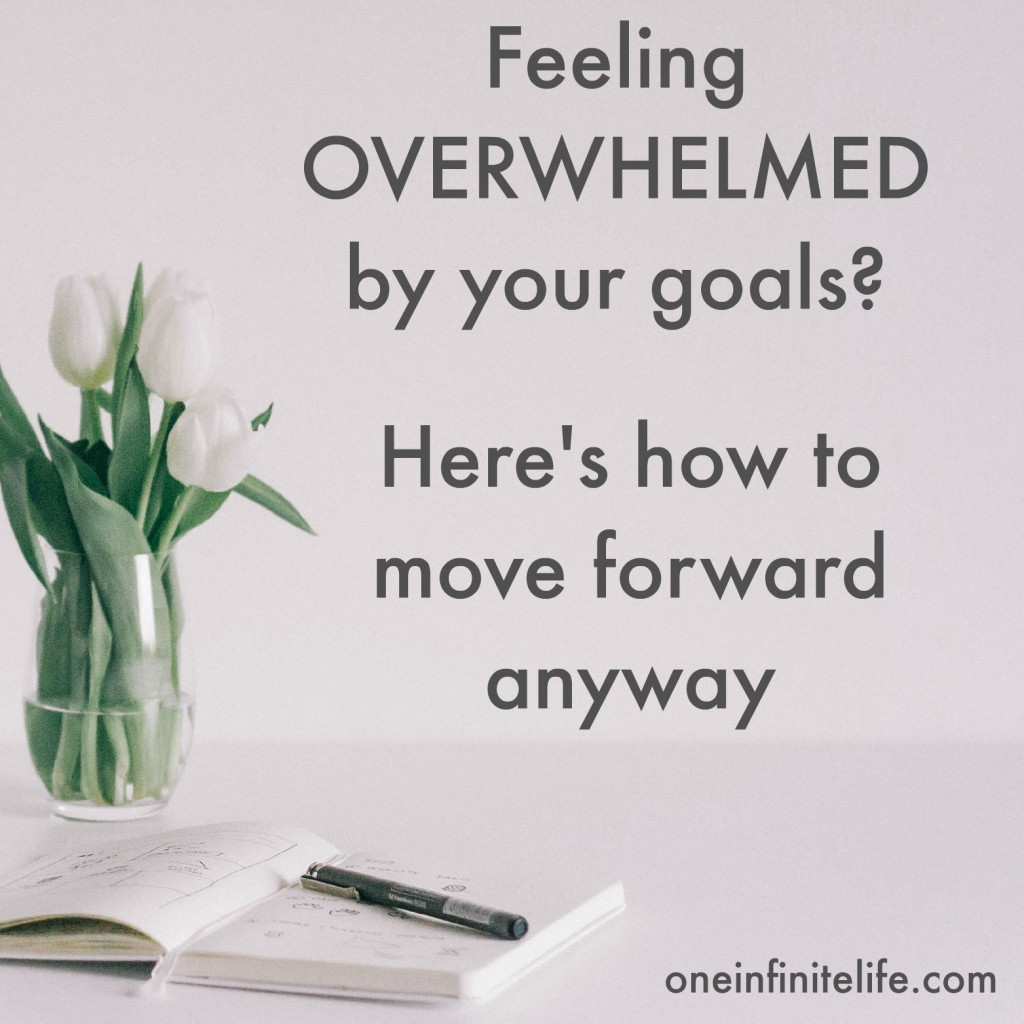 Goals can be super inspiring and help to create a life we absolutely love. However, they can also be overwhelming to the point where we can't move forward at all. Here's how to move forward when you're feeling stuck and overwhelmed about your goals http://oneinfinitelife.com/overwhelmed-by-your-goals/