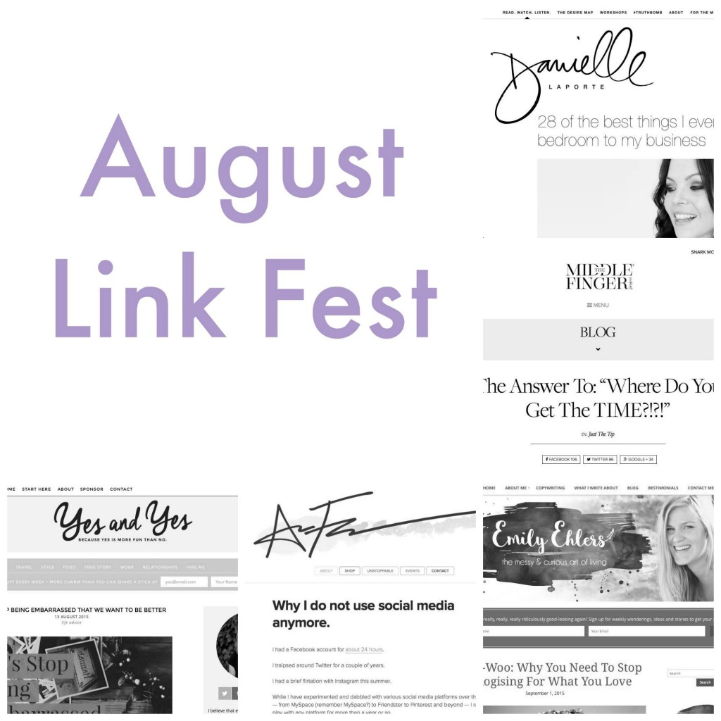 5 of the best things I came across on the Internet this month (in no particular order — because they are ALL awesome!) And also with a little reflection and elaboration from me http://oneinfinitelife.com/august-link-fest/