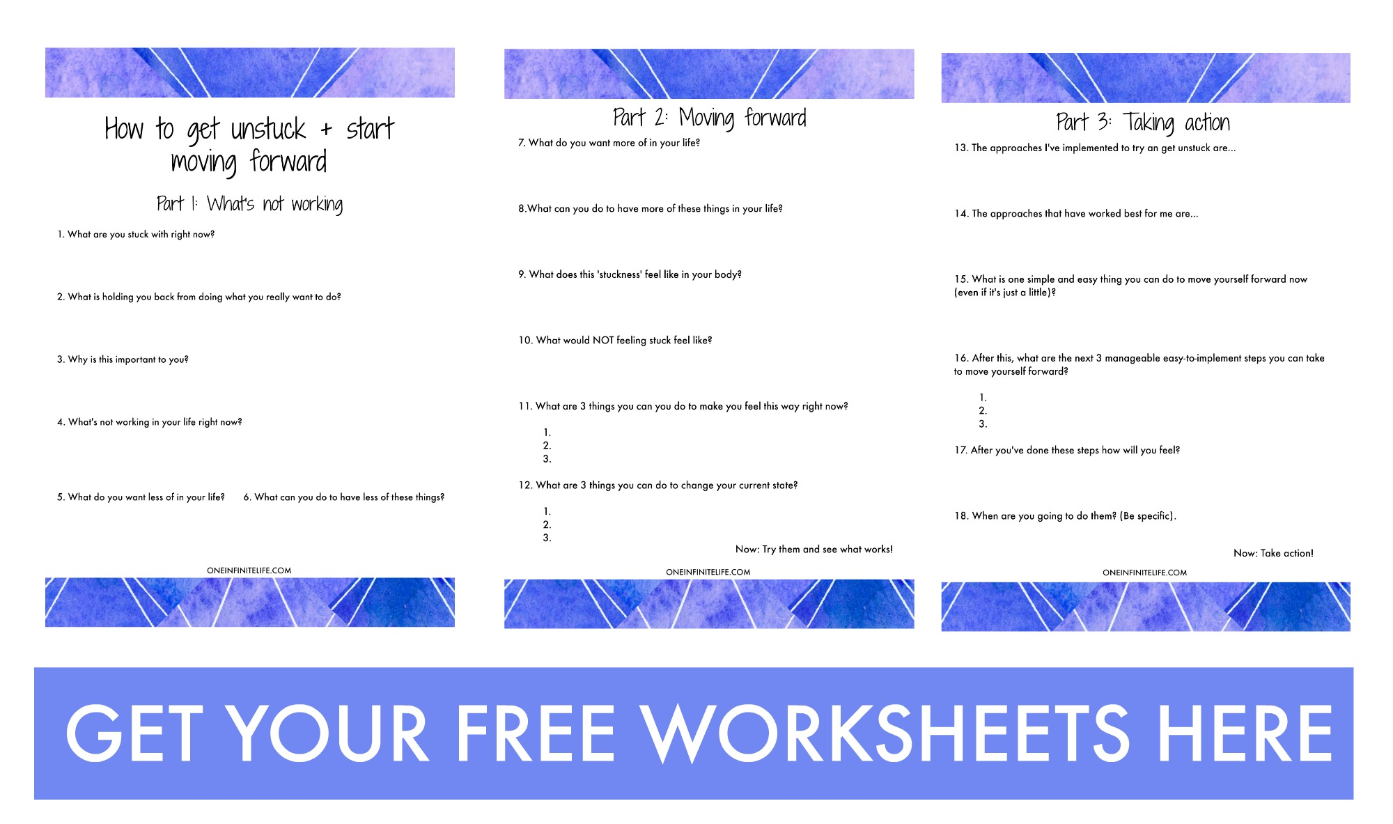 FREE WORKSHEETS: How to get unstuck and start moving forward http://bit.ly/1VDRGjk